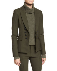 Veronica Beard Sarin Double Breasted Stretch Blazer Loden