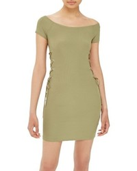 Topshop Lace Up Side Body Con Dress