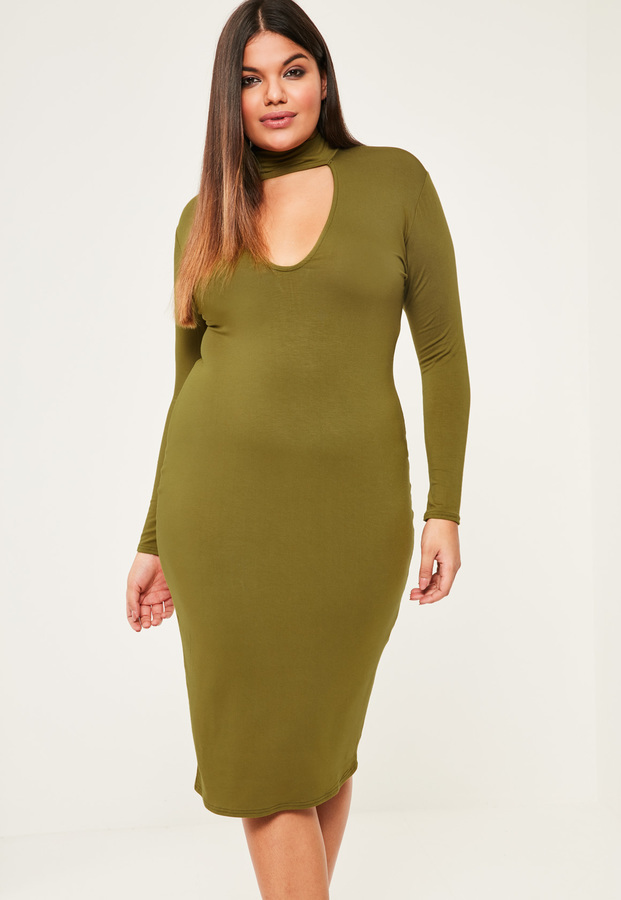 Missguided Plus Size Khaki Choker Neck Bodycon Dress Where To Buy