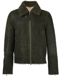 Closed Collar Detail Zipped Bomber Jacket
