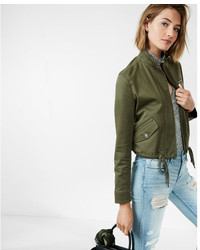 Express Cropped Twill Bomber Jacket