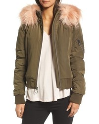 BCBGeneration Faux Fur Trim Puffy Bomber Jacket