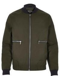 River Island Green Zip Side Bomber Jacket