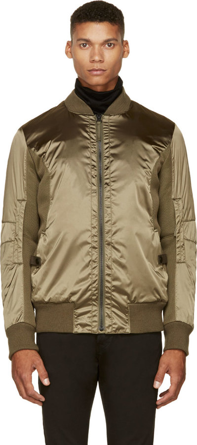 Helmut Lang Olive Nylon Mesh Bomber Jacket | Where to buy & how to ...
