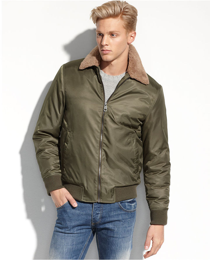7c0859d425d ... Buffalo David Bitton Jacket Faux Sherpa Collar Wind And Water Resistant  Bomber ...