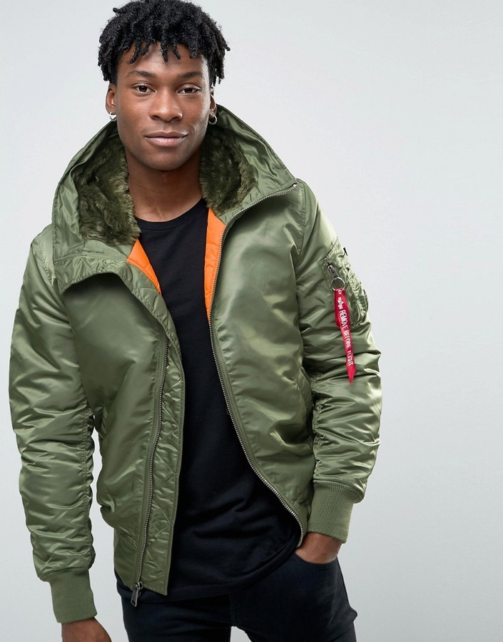... Alpha Industries Ma 1 Bomber Jacket With Hood In Regular Fit Sage Green  ... 9652ad2762f