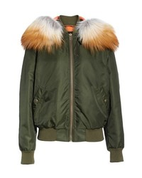 MR AND MRS ITALY Mr Mrs Italy Removable Genuine Fox Fur Hood Bomber Jacket