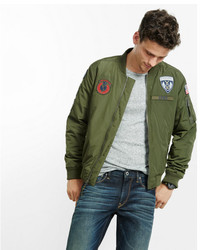 Express Patch Embellished Insulated Ma 1 Bomber Jacket
