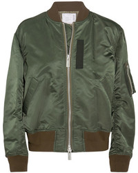 Sacai Ribbed Jersey Trimmed Shell Bomber Jacket Army Green