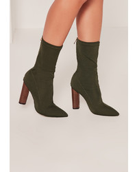 Missguided Khaki Neoprene Wooden Heeled Boots