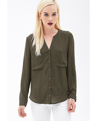 Button front woven blouse medium 71172