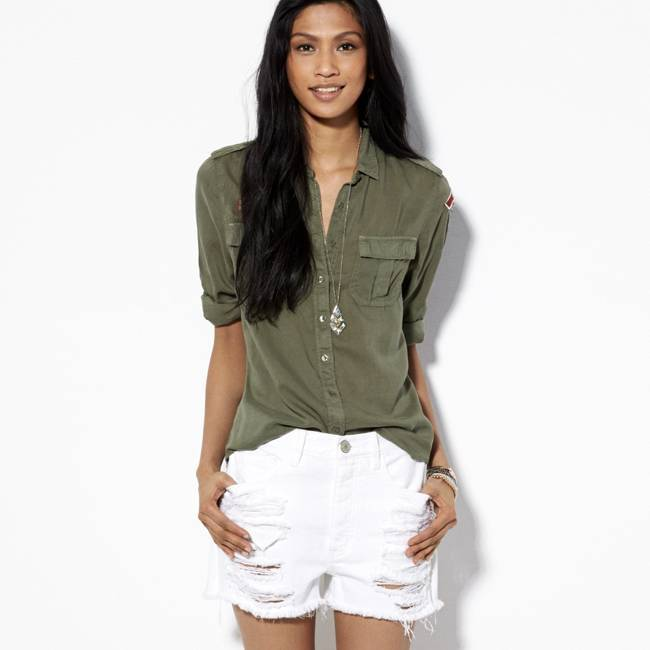 American Eagle Outfitters Olive Green Surplus Button Down Shirt