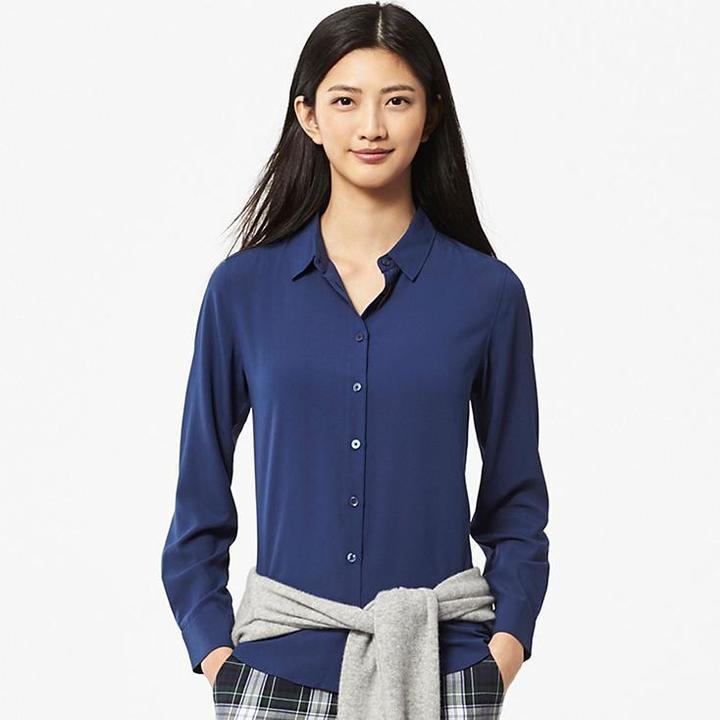 bde11bb09348a Uniqlo Rayon Long Sleeve Blouse