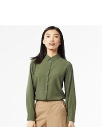 Uniqlo Rayon Long Sleeve Blouse