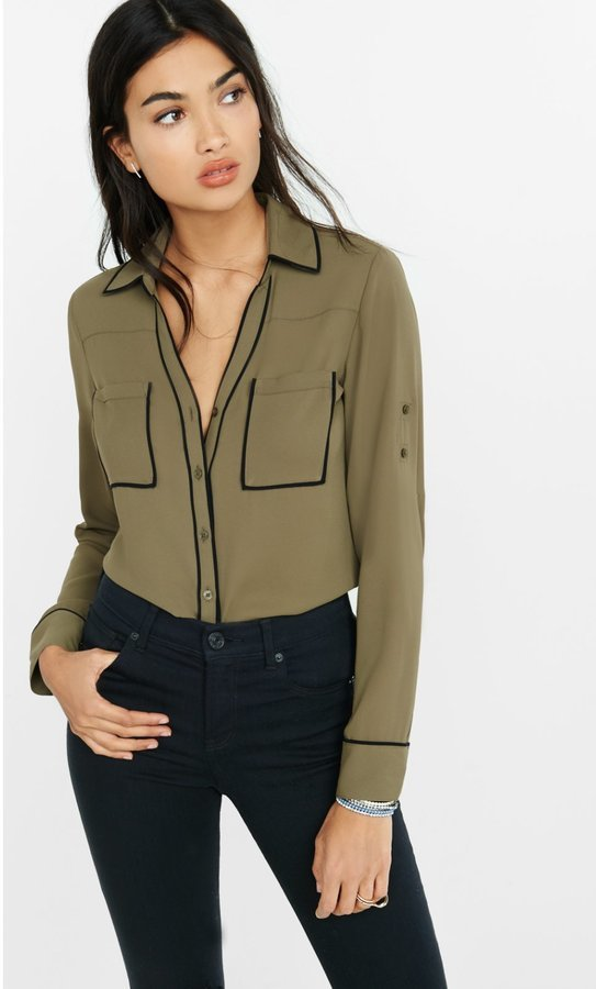dae277d429aa39 Express Slim Fit Olive Contrast Piping Portofino Shirt, $49   Express    Lookastic.com