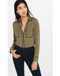Express Slim Fit Olive Contrast Piping Portofino Shirt