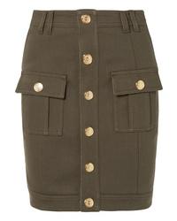 Balmain Button Embellished Denim Mini Skirt