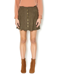 Nude Button Up A Line Skirt