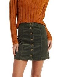 Charlotte Russe Button Up Corduroy Skirt