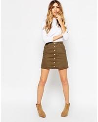 ... Asos Collection Denim Dolly Aline Button Through Mini Skirt In Sage  Green