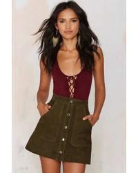 Ladyland suede skirt olive medium 374070