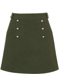 Matelot Wool Blend A Line Skirt