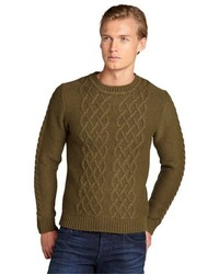 Slate & Stone Army Green Cable Crewneck Forest Sweater