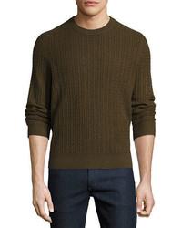 Neiman Marcus Cable Knit Cashmere Crewneck Sweater