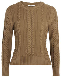Cable knit pima cotton sweater army green medium 6860400