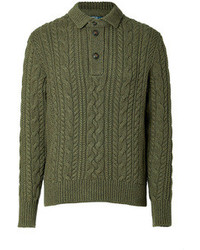 Polo Ralph Lauren Cotton Cashmere Cable Knit Pullover In Heather Olive