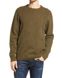 Bridge & Burn Hugo Cable Knit Tweed Merino Wool Crewneck Sweater