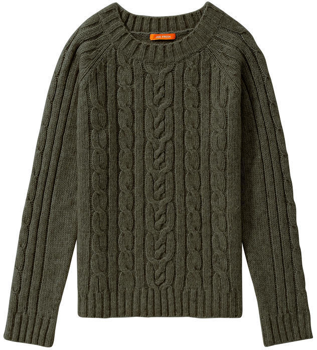 Joe Fresh Cable Knit Sweater Dark Green Mix | Where to buy & how ...