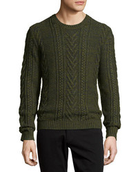 Vince Marled Cable Knit Crewneck Sweater Green