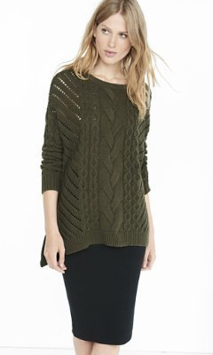 Oversized Open Cable Knit Tunic Sweater   Where to buy & how to wear