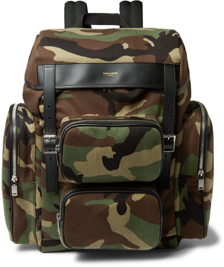 Saint Laurent Leather Trimmed Camouflage Print Canvas Backpack ...