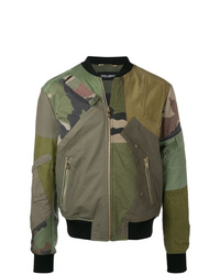Dolce & Gabbana Patched Camouflage Bomber Jacket
