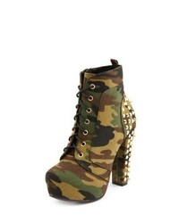 Olive Camouflage Canvas Lace-up Ankle Boots