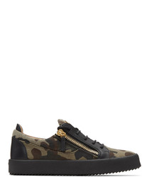 Olive Camouflage Canvas Low Top Sneakers