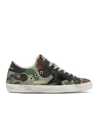 Golden Goose Green And Black Camo Canvas Sneakers