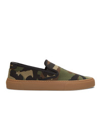Saint Laurent Khaki Camo Venice Slip On Sneakers