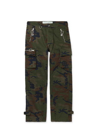 Off-White Logo Embellished Camouflage Print Cotton Twill Cargo Trousers