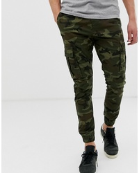 Solid Slim Fit Cuffed Cargo Pant In Camo