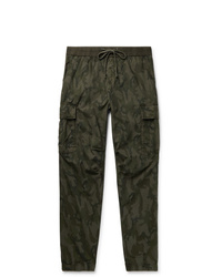 James Perse Tapered Camouflage Print Cotton Ripstop Cargo Trousers
