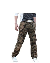 Unique-Bargains Olive Green Six Cargo Pockets Straight Leg Camo Pants W37
