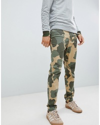 Original Penguin Camo Print Dobby Tapered Chinos In Green