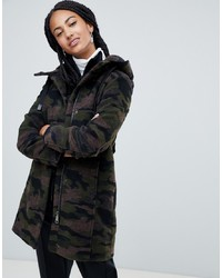 Esprit Hooded Camo Print Coat