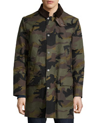 Valentino Snap Front Camouflage Long Coat Army
