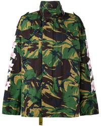 Off-White Camouflage Floral Print Parka Jacket
