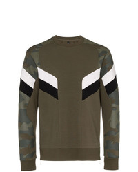 Neil Barrett Camo Print And Ribbed Edge Cotton Blend Jumper