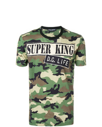 Dolce & Gabbana Camouflage Print Slogan T Shirt